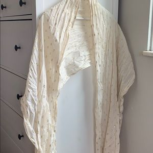 Gold and cream scarf with tassels